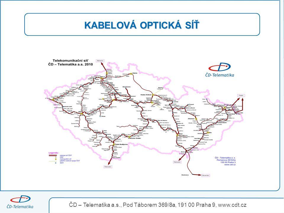 KABELOVÁ OPTICKÁ SÍŤ ČD – Telematika a.s., Pod Táborem 369/8a, 191 00 Praha 9, www.cdt.cz