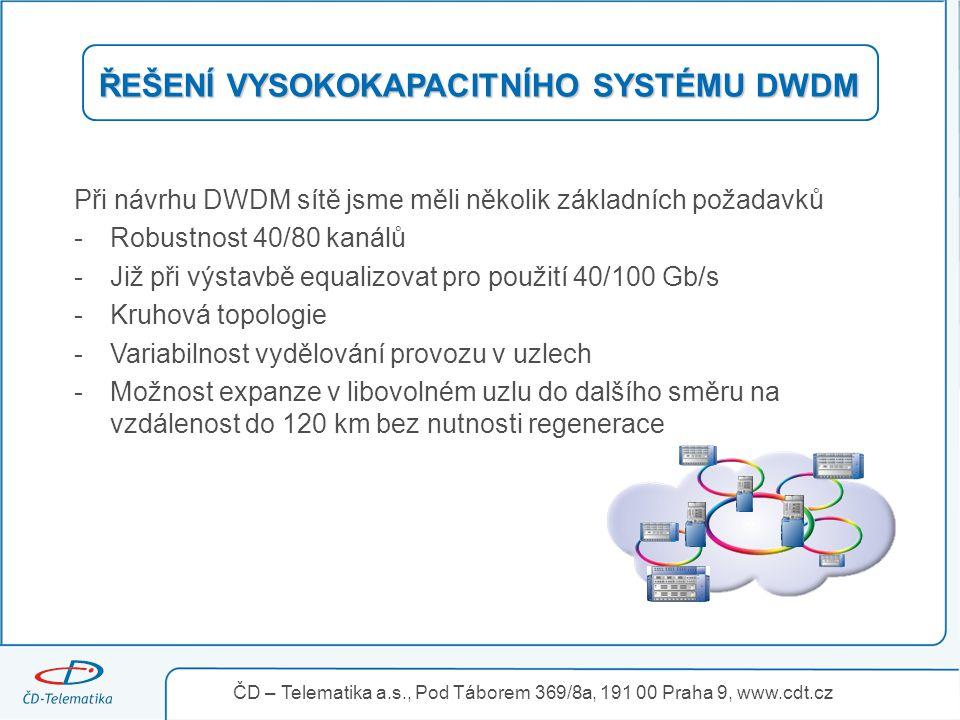 """ŘEŠENÍ VYSOKOKAPACITNÍHO SYSTÉMU DWDM Při návrhu designu DWDM sítě byla použita metoda disperzní kompenzace """" per span """" aby bylo možno jednoduše expandovat z kteréhokoliv uzlu dalším směrem až do vzdálenosti 120 km."""