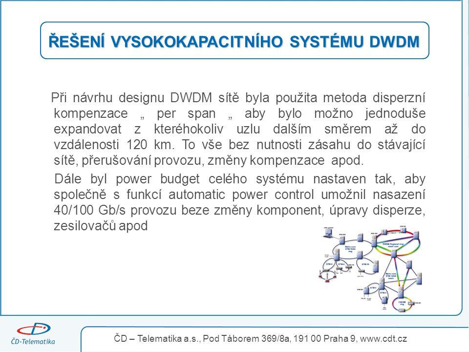"""ŘEŠENÍ VYSOKOKAPACITNÍHO SYSTÉMU DWDM Při návrhu designu DWDM sítě byla použita metoda disperzní kompenzace """" per span """" aby bylo možno jednoduše expa"""