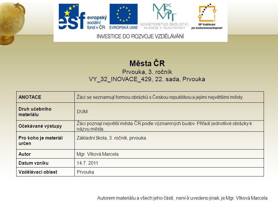 Města ČR Prvouka, 3.ročník VY_32_INOVACE_429, 22.