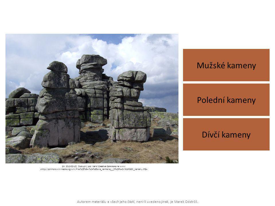 Autorem materiálu a všech jeho částí, není-li uvedeno jinak, je Marek Odstrčil. Mužské kameny Dívčí kameny Polední kameny [cit. 2012-02-10]. Dostupný