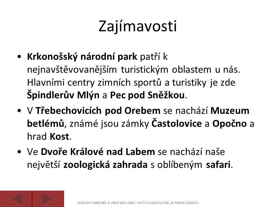 Autorem materiálu a všech jeho částí, není-li uvedeno jinak, je Marek Odstrčil. Zajímavosti •Krkonošský národní park patří k nejnavštěvovanějším turis
