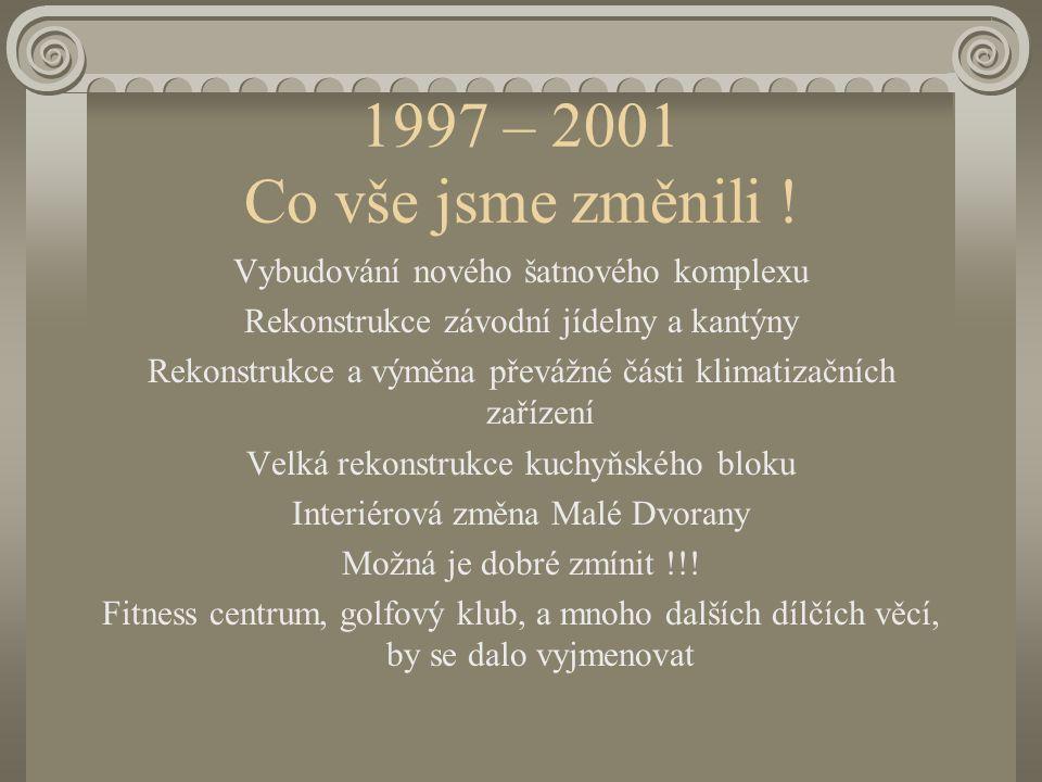 1997 – 2001 Co vše jsme změnili ! Interiérová změna Grandrestaurantu Vybudování nových prostor personálního oddělení Vybudování nových prostor SPV Eko