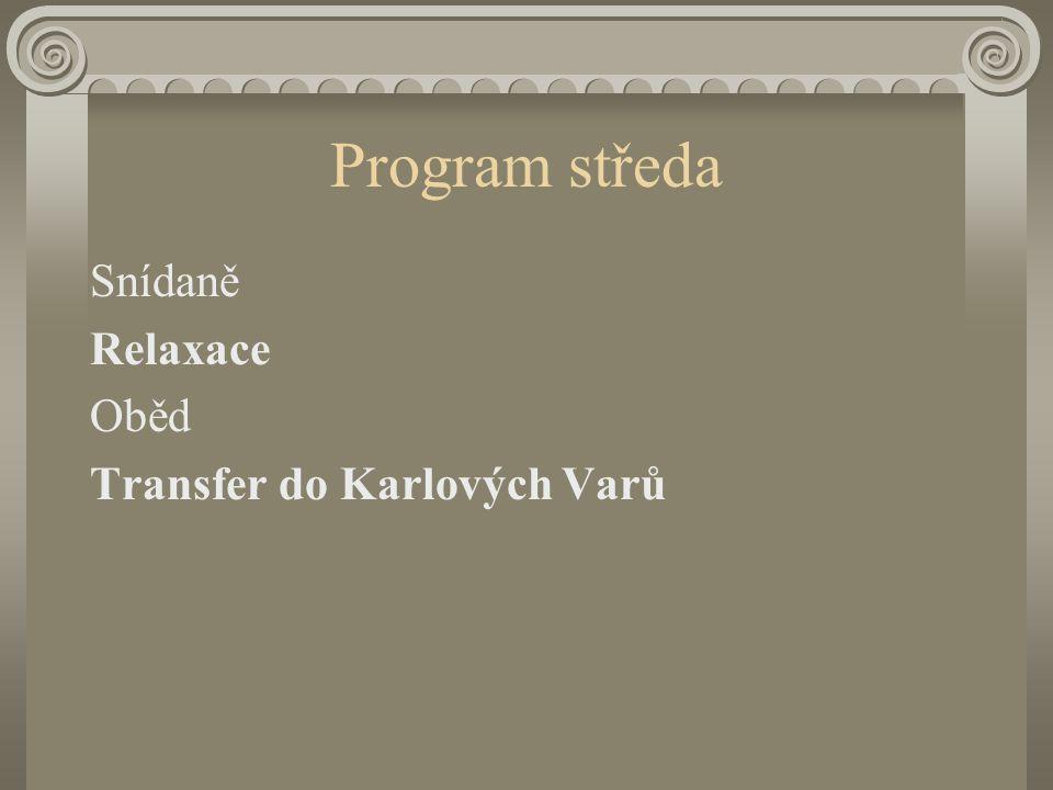 Program úterý Snídaně Pěšky nebo běžky .