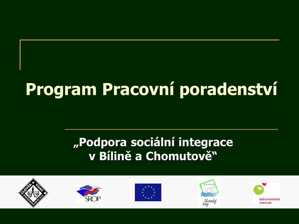 """Program Pracovní poradenství """"Podpora sociální integrace v Bílině a Chomutově"""""""