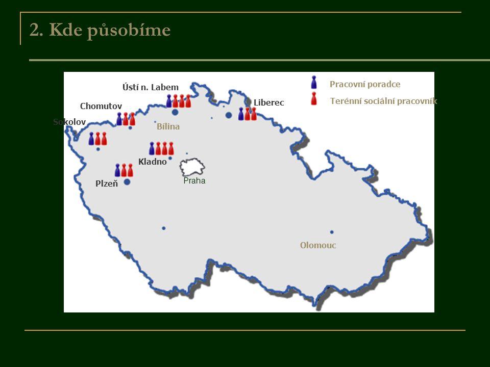 2. Kde působíme Pracovní poradce Terénní sociální pracovník Sokolov Chomutov Bílina Ústí n. Labem Liberec Kladno Plzeň Olomouc Praha