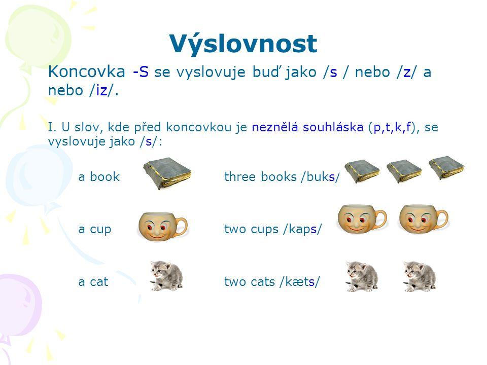 Výslovnost Koncovka -S se vyslovuje buď jako /s / nebo /z/ a nebo /iz/. I. U slov, kde před koncovkou je neznělá souhláska (p,t,k,f), se vyslovuje jak