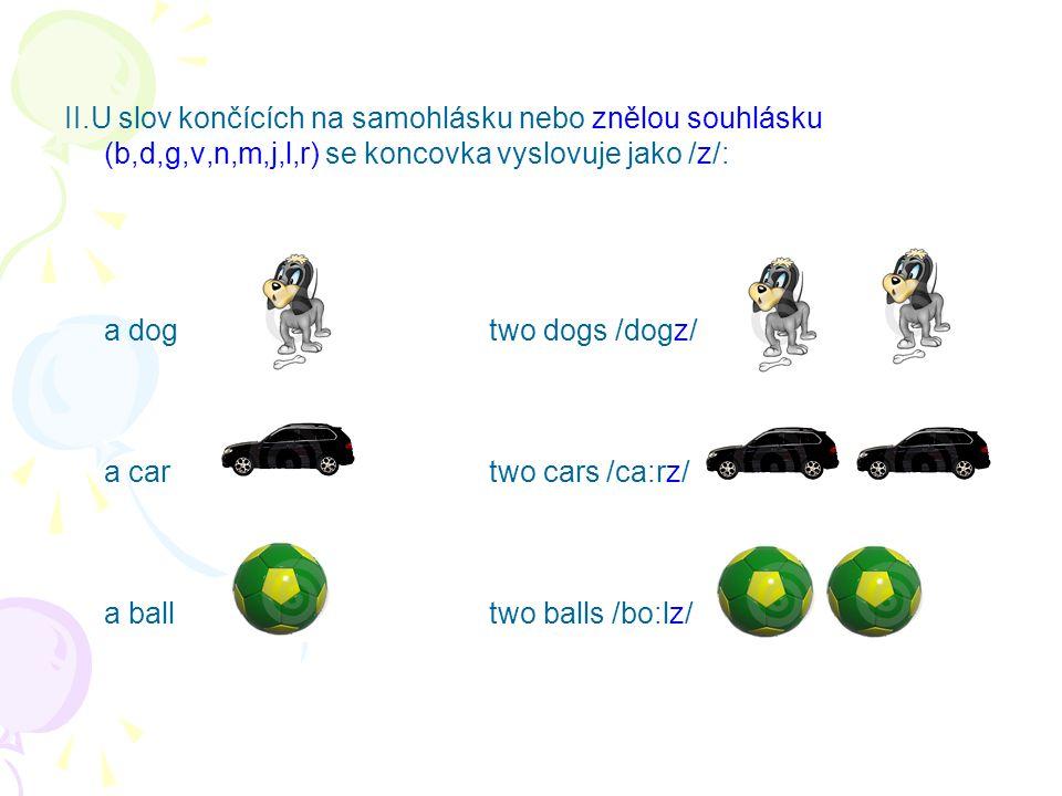 II.U slov končících na samohlásku nebo znělou souhlásku (b,d,g,v,n,m,j,l,r) se koncovka vyslovuje jako /z/: a dogtwo dogs /dogz/ a cartwo cars /ca:rz/