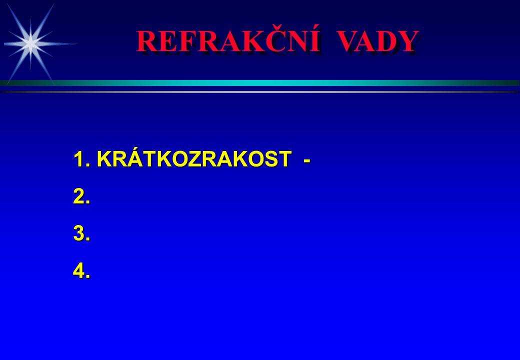 REFRAKČNÍ VADY 1.KRÁTKOZRAKOST - myopie 2. DALEKOZRAKOST - hyperopie 3.