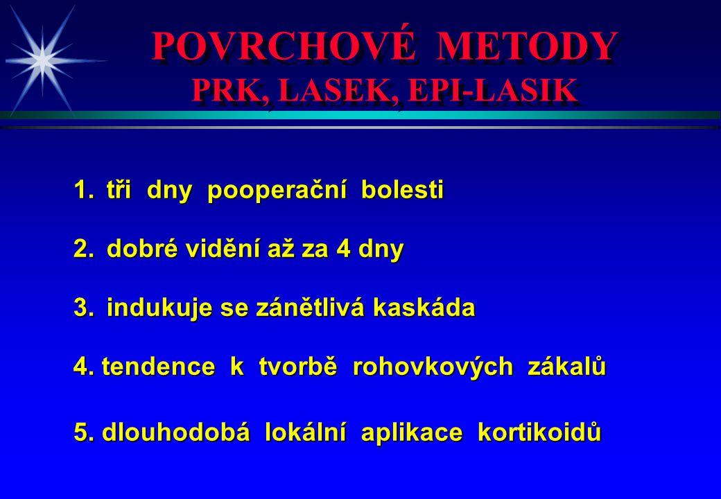 POVRCHOVÉ METODY PRK, LASEK, EPI-LASIK POVRCHOVÉ METODY PRK, LASEK, EPI-LASIK 1.tři dny pooperační bolesti 2.dobré vidění až za 4 dny 3.indukuje se zá