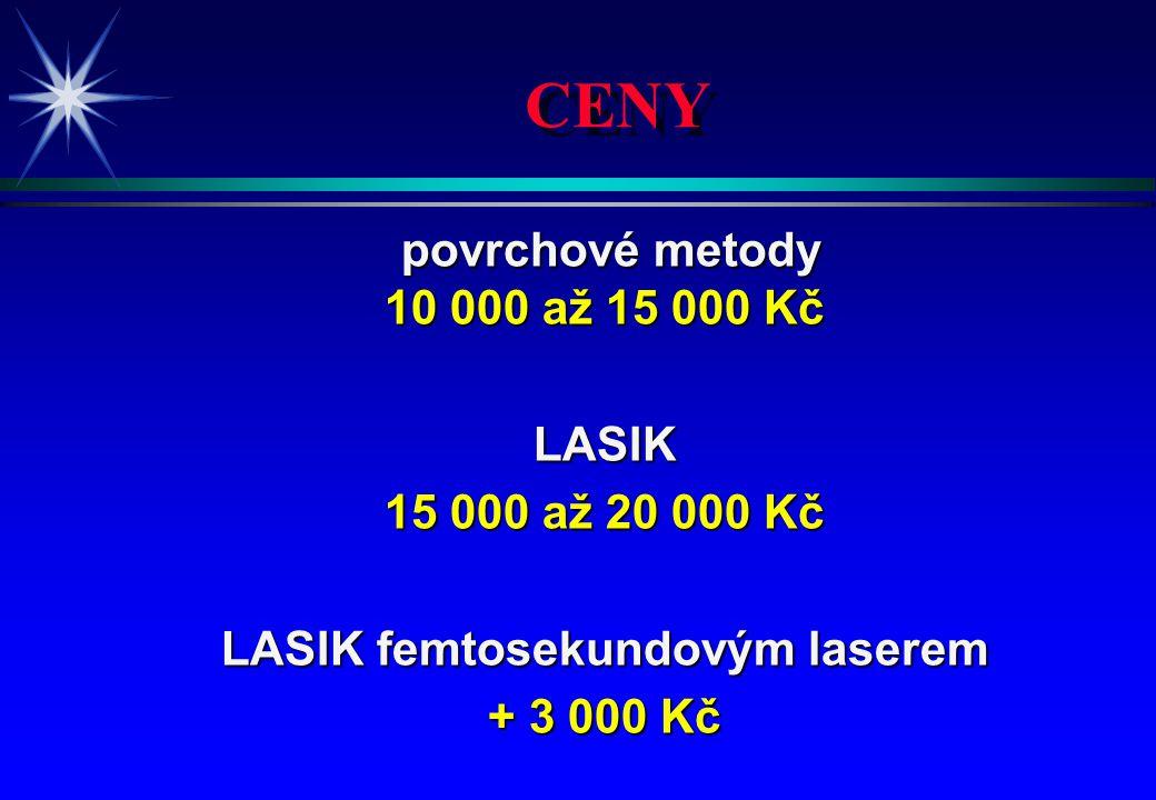CENY povrchové metody povrchové metody 10 000 až 15 000 Kč LASIK 15 000 až 20 000 Kč LASIK femtosekundovým laserem + 3 000 Kč