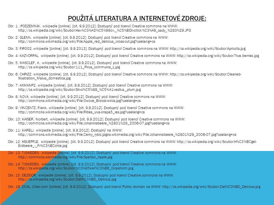 POUŽITÁ LITERATURA A INTERNETOVÉ ZDROJE: Obr. 1 : PODZEMNIK. wikipedie [online]. [cit. 9.9.2012]. Dostupný pod licencí Creative commons na WWW: http:/