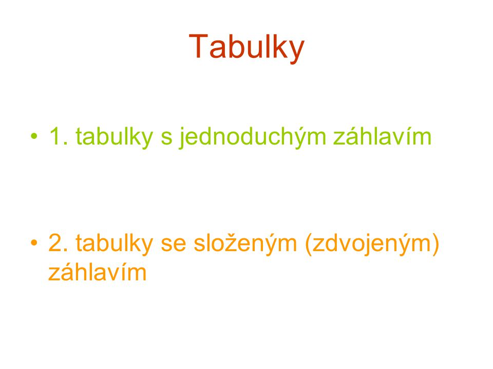 Tabulky •1. tabulky s jednoduchým záhlavím •2. tabulky se složeným (zdvojeným) záhlavím