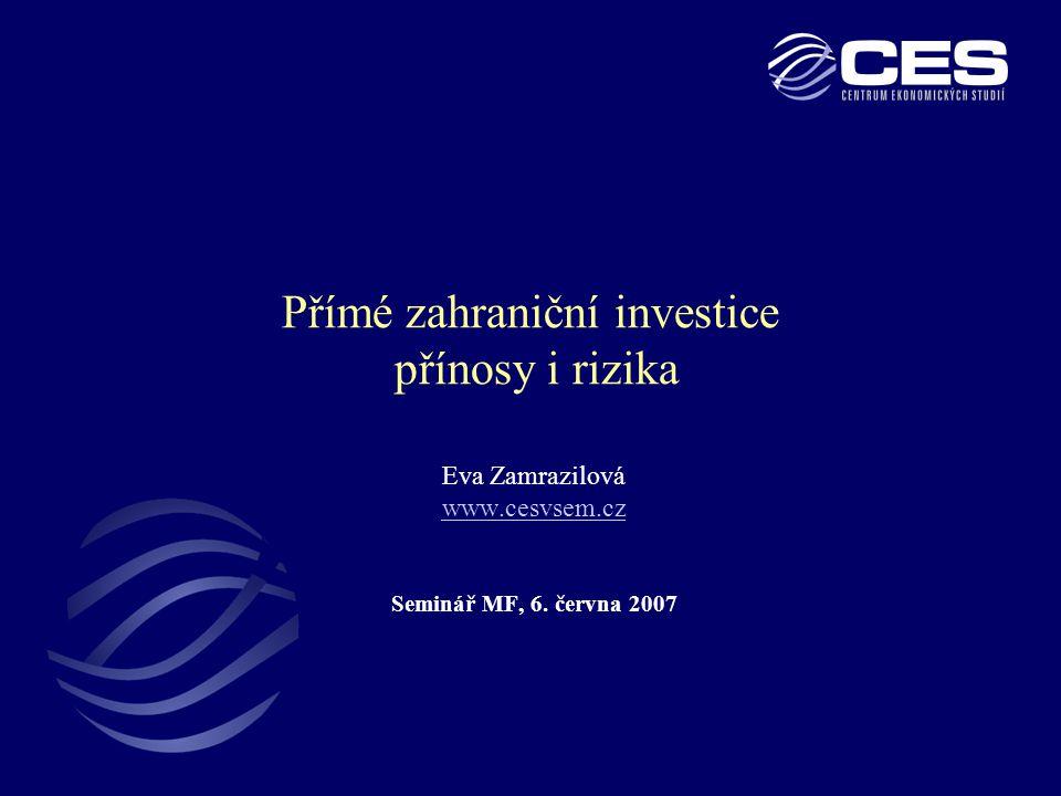 2 Zásoba PZI ve středoevropských ekonomikách (% HDP) •Česká zásoba (48 % HDP) druhá nejvyšší po Maďarsku (56 % HDP) •Polská a slovenská zásoba podstatně nižší (cca 30 % HDP) •Po r.