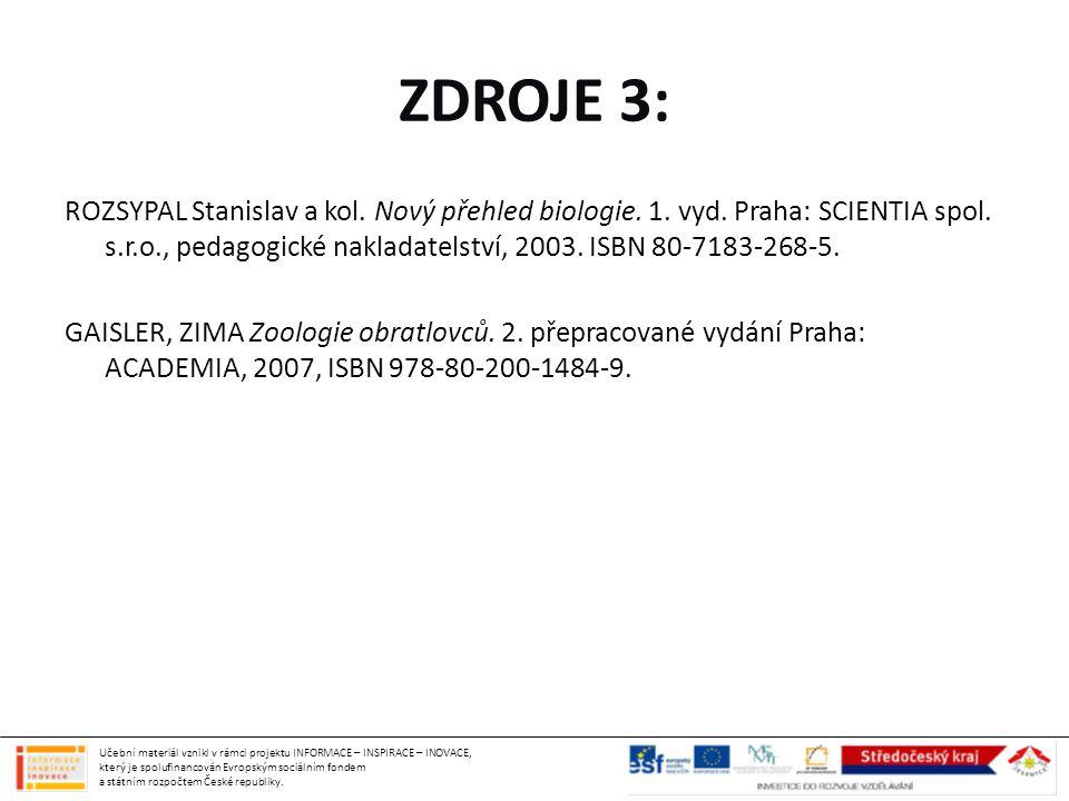 ZDROJE 3: ROZSYPAL Stanislav a kol. Nový přehled biologie. 1. vyd. Praha: SCIENTIA spol. s.r.o., pedagogické nakladatelství, 2003. ISBN 80-7183-268-5.