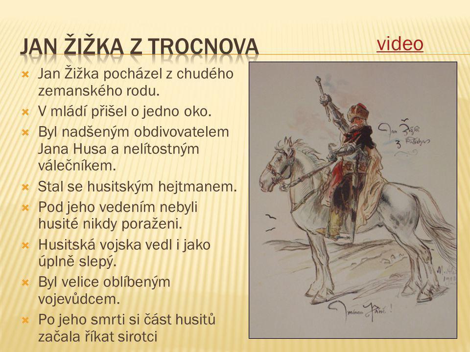  Jan Žižka pocházel z chudého zemanského rodu.  V mládí přišel o jedno oko.  Byl nadšeným obdivovatelem Jana Husa a nelítostným válečníkem.  Stal