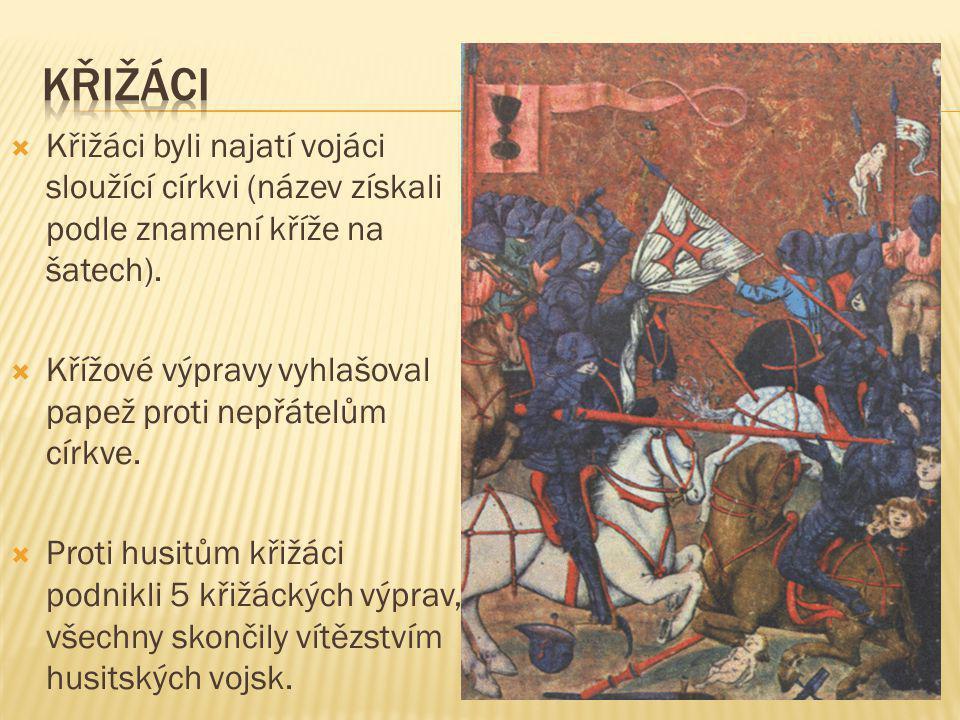  Křižáci byli najatí vojáci sloužící církvi (název získali podle znamení kříže na šatech).  Křížové výpravy vyhlašoval papež proti nepřátelům církve
