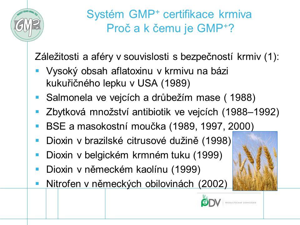 Systém GMP + certifikace krmiva Proč a k čemu je GMP + ? Záležitosti a aféry v souvislosti s bezpečností krmiv (1):  Vysoký obsah aflatoxinu v krmivu