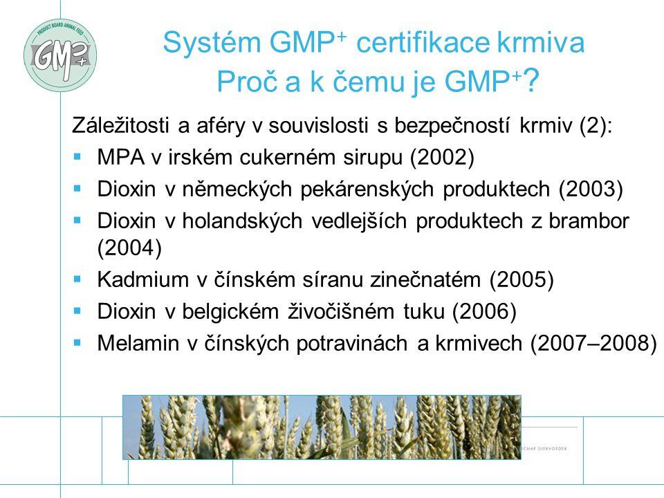 Systém GMP + certifikace krmiva Proč a k čemu je GMP + ? Záležitosti a aféry v souvislosti s bezpečností krmiv (2):  MPA v irském cukerném sirupu (20