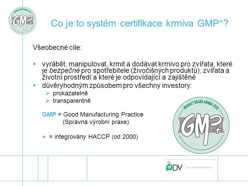 Co je to systém certifikace krmiva GMP + ? Všeobecné cíle:  vyrábět, manipulovat, krmit a dodávat krmivo pro zvířata, které je bezpečné pro spotřebit