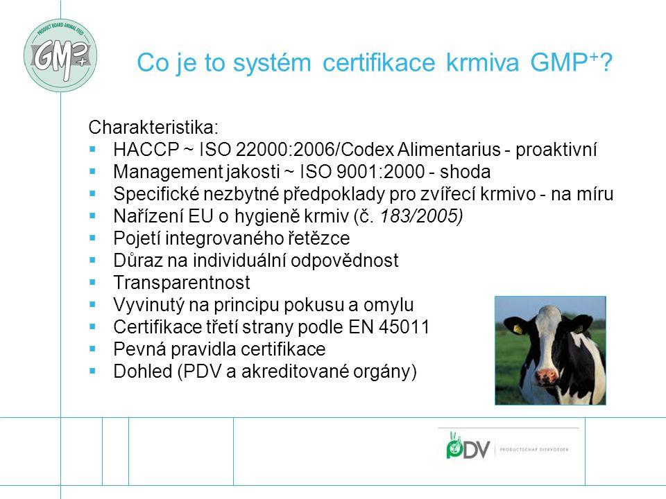 Co je to systém certifikace krmiva GMP + ? Charakteristika:  HACCP ~ ISO 22000:2006/Codex Alimentarius - proaktivní  Management jakosti ~ ISO 9001:2