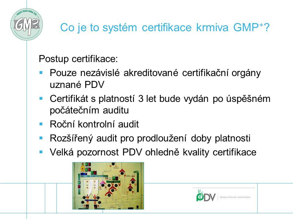 Co je to systém certifikace krmiva GMP + ? Postup certifikace:  Pouze nezávislé akreditované certifikační orgány uznané PDV  Certifikát s platností