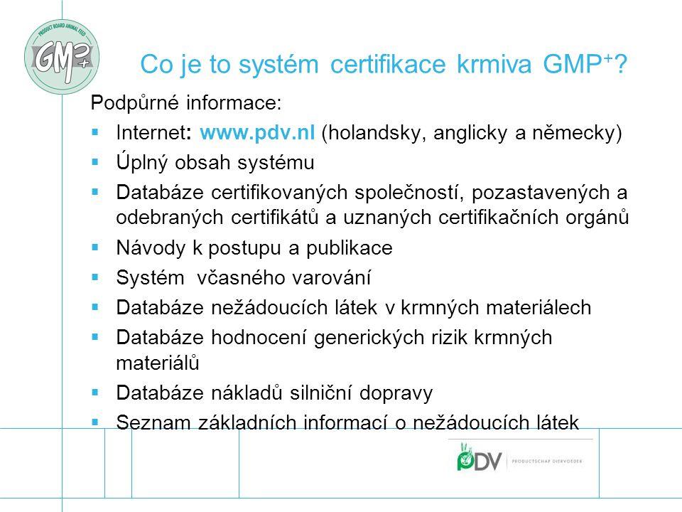 Co je to systém certifikace krmiva GMP + ? Podpůrné informace:  Internet: www.pdv.nl (holandsky, anglicky a německy)  Úplný obsah systému  Databáze