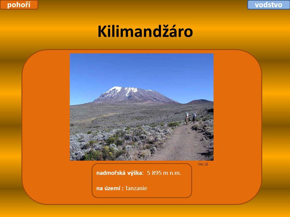 Kilimandžáro nadmořská výška: 5 895 m n.m. na území : Tanzanie Obr.15 pohořívodstvo
