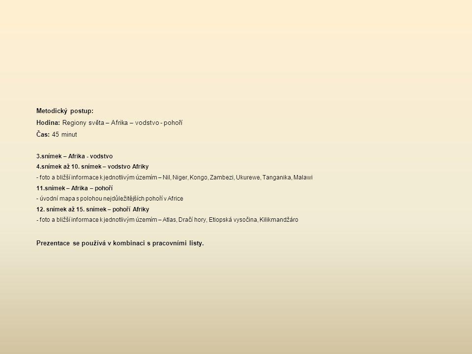 Metodický postup: Hodina: Regiony světa – Afrika – vodstvo - pohoří Čas: 45 minut 3.snímek – Afrika - vodstvo 4.snímek až 10. snímek – vodstvo Afriky
