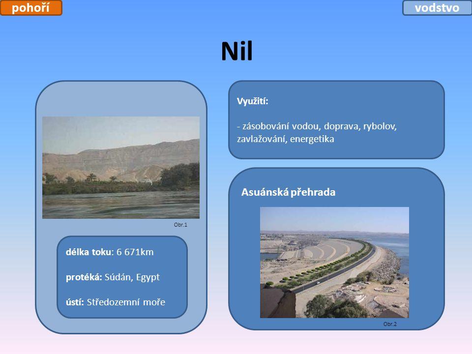 Nil Využití: - zásobování vodou, doprava, rybolov, zavlažování, energetika délka toku: 6 671km protéká: Súdán, Egypt ústí: Středozemní moře Asuánská p