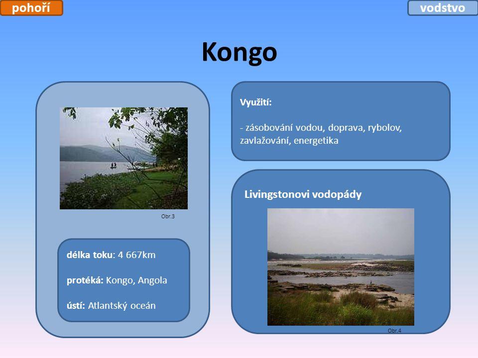 Kongo Využití: - zásobování vodou, doprava, rybolov, zavlažování, energetika délka toku: 4 667km protéká: Kongo, Angola ústí: Atlantský oceán Livingst