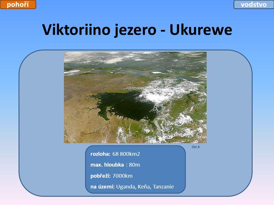 Viktoriino jezero - Ukurewe rozloha: 68 800km2 max. hloubka : 80m pobřeží: 7000km na území: Uganda, Keňa, Tanzanie Obr.9 pohořívodstvo