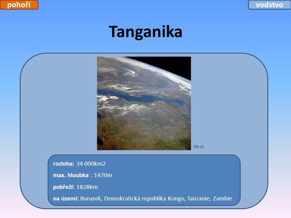 Tanganika rozloha: 34 000km2 max. hloubka : 1470m pobřeží: 1828km na území: Burundi, Demokratická republika Kongo, Tanzanie, Zambie Obr.10 pohořívodst