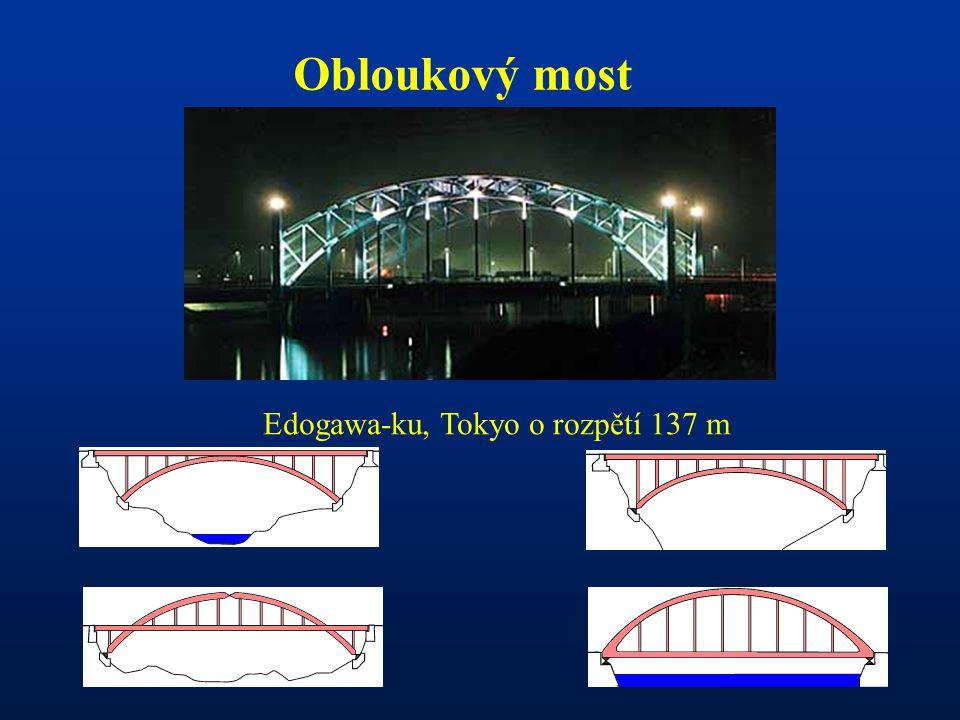 Obloukový most Edogawa-ku, Tokyo o rozpětí 137 m