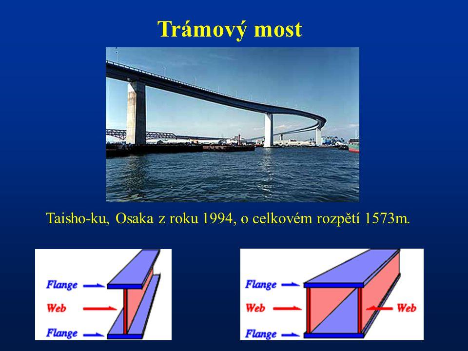 Trámový most Taisho-ku, Osaka z roku 1994, o celkovém rozpětí 1573m.