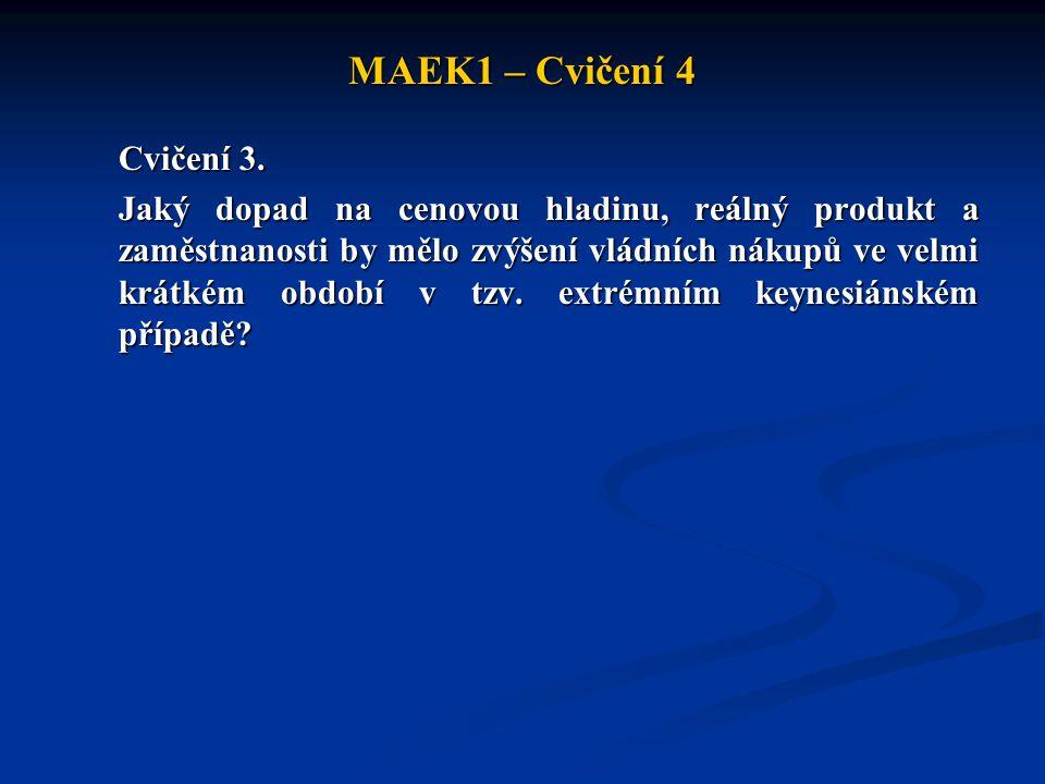 MAEK1 – Cvičení 4 Cvičení 3. Jaký dopad na cenovou hladinu, reálný produkt a zaměstnanosti by mělo zvýšení vládních nákupů ve velmi krátkém období v t