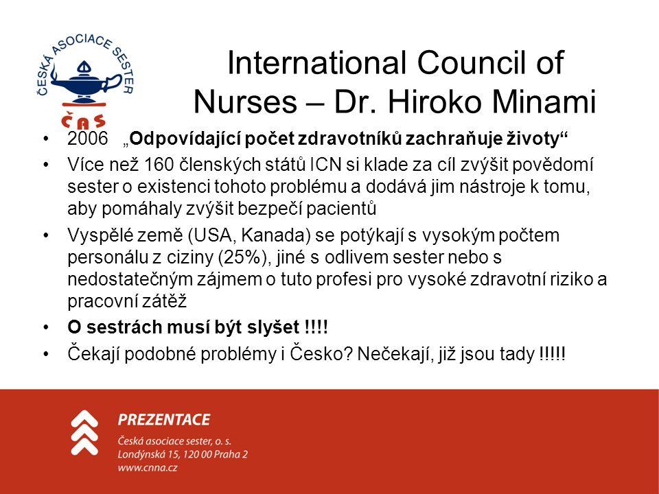 """International Council of Nurses – Dr. Hiroko Minami •2006 """"Odpovídající počet zdravotníků zachraňuje životy"""" •Více než 160 členských států ICN si klad"""