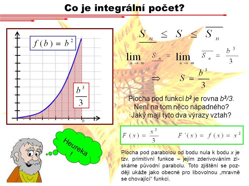 Co je integrální počet? 4 Heureka ! Plocha pod funkcí b 2 je rovna b 3 /3. Není na tom něco nápadného? Jaký mají tyto dva výrazy vztah? Plocha pod par