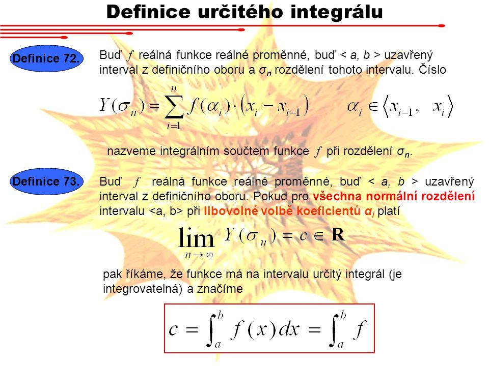 Definice určitého integrálu Definice 72. Buď f reálná funkce reálné proměnné, buď uzavřený interval z definičního oboru a σ n rozdělení tohoto interva