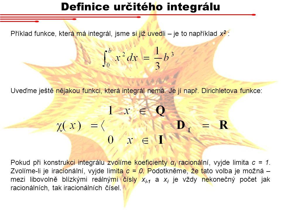 Definice určitého integrálu Příklad funkce, která má integrál, jsme si již uvedli – je to například x 2 : Uveďme ještě nějakou funkci, která integrál