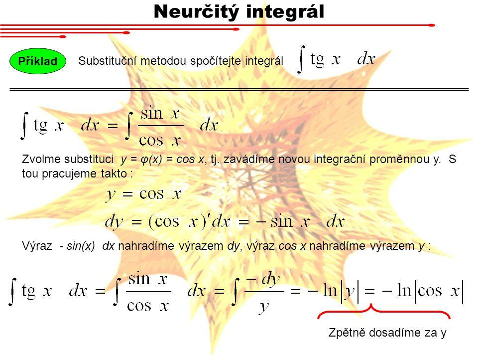 Neurčitý integrál Substituční metodou spočítejte integrál Příklad Zvolme substituci y = φ(x) = cos x, tj. zavádíme novou integrační proměnnou y. S tou