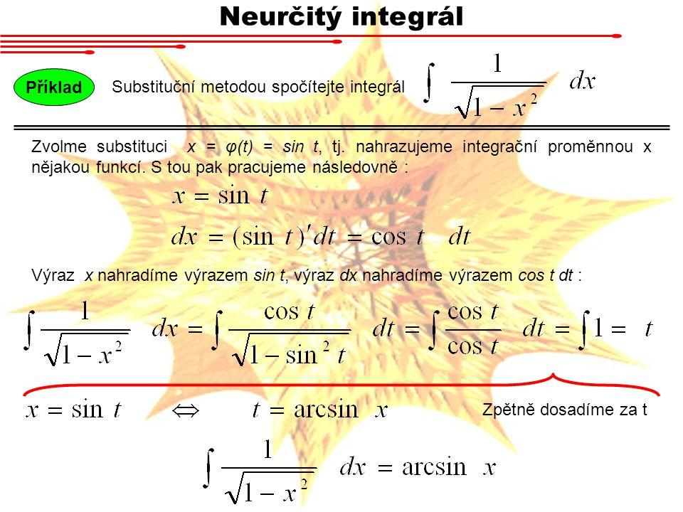 Neurčitý integrál Substituční metodou spočítejte integrál Příklad Zvolme substituci x = φ(t) = sin t, tj. nahrazujeme integrační proměnnou x nějakou f