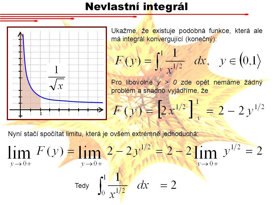 Nevlastní integrál 1 Ukažme, že existuje podobná funkce, která ale má integrál konvergující (konečný): Pro libovolné y > 0 zde opět nemáme žádný probl