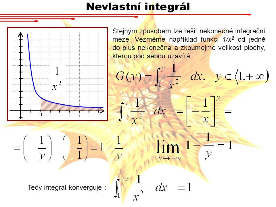 Nevlastní integrál Stejným způsobem lze řešit nekonečné integrační meze. Vezměme například funkci 1/x 2 od jedné do plus nekonečna a zkoumejme velikos