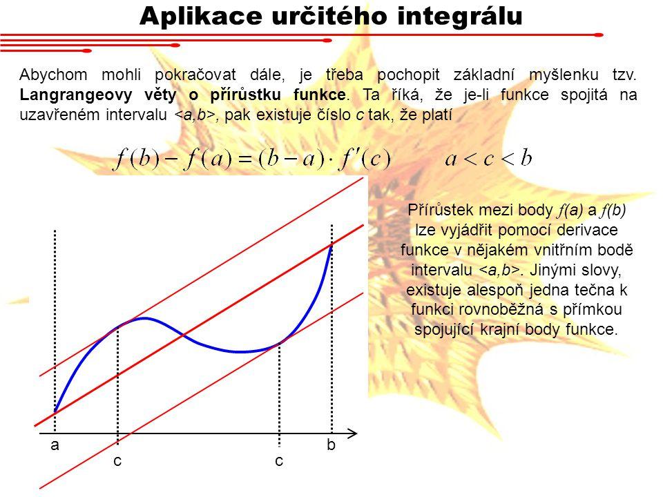 Aplikace určitého integrálu Abychom mohli pokračovat dále, je třeba pochopit základní myšlenku tzv. Langrangeovy věty o přírůstku funkce. Ta říká, že