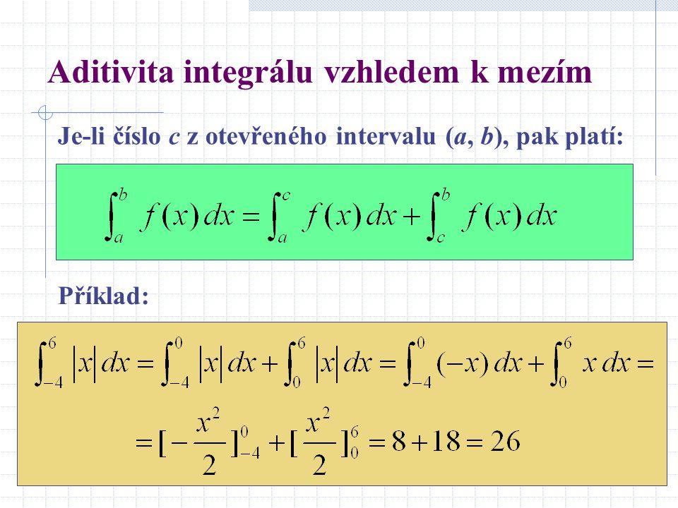 Aditivita integrálu vzhledem k mezím Je-li číslo c z otevřeného intervalu (a, b), pak platí: Příklad: