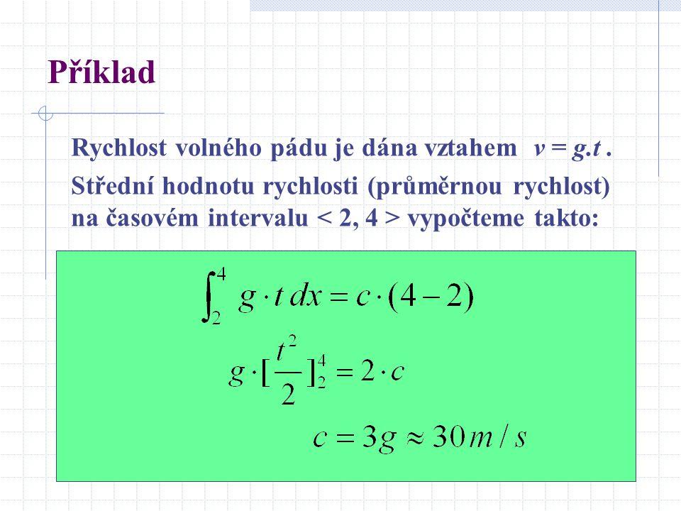 Příklad Rychlost volného pádu je dána vztahem v = g.t. Střední hodnotu rychlosti (průměrnou rychlost) na časovém intervalu vypočteme takto: