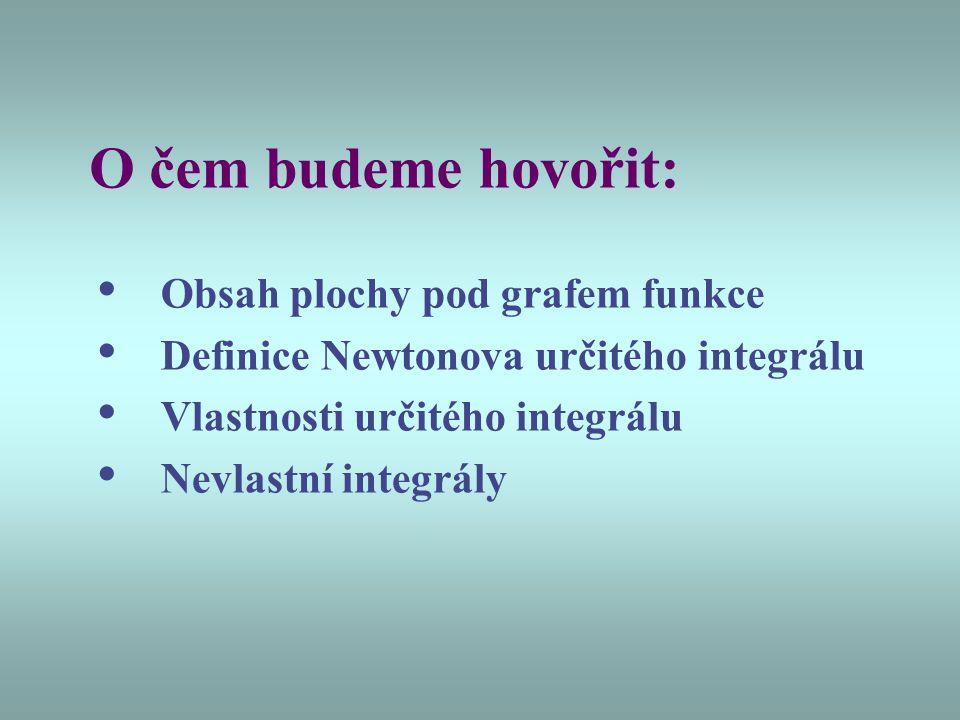 O čem budeme hovořit: • Obsah plochy pod grafem funkce • Definice Newtonova určitého integrálu • Vlastnosti určitého integrálu • Nevlastní integrály