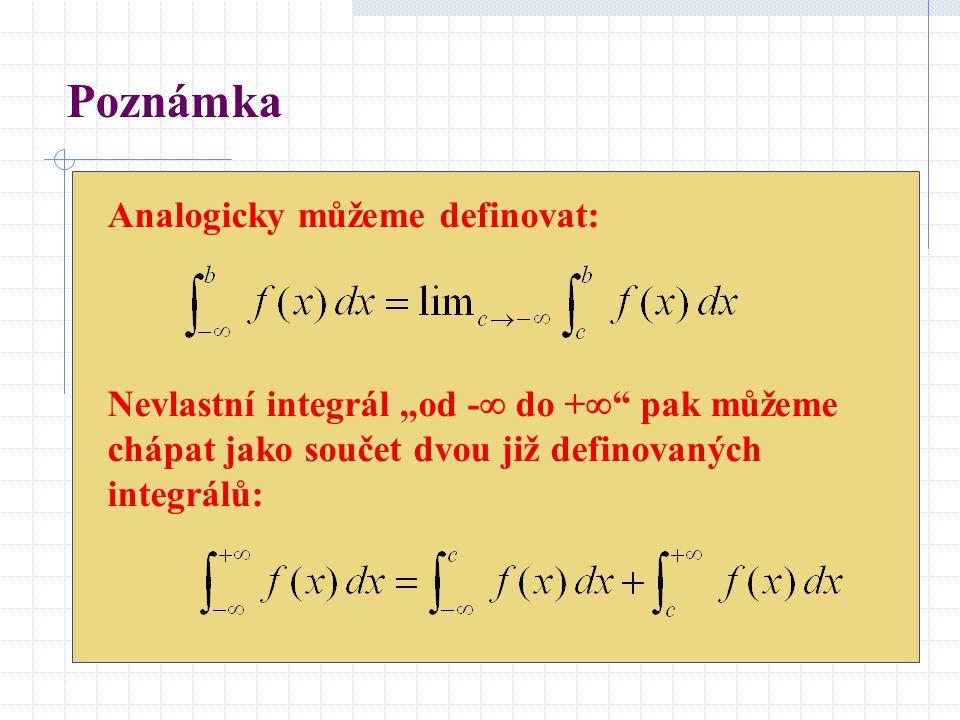 """Poznámka Analogicky můžeme definovat: Nevlastní integrál """"od -  do +  """" pak můžeme chápat jako součet dvou již definovaných integrálů:"""