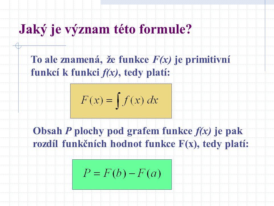 Jaký je význam této formule? To ale znamená, že funkce F(x) je primitivní funkcí k funkci f(x), tedy platí: Obsah P plochy pod grafem funkce f(x) je p